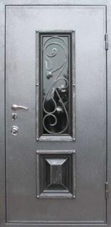 Дверь с порошковым напылением с ковкой и стеклом